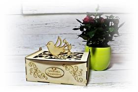 Piękna SZKATUŁKA pudełko ornament drewniana GRAWER