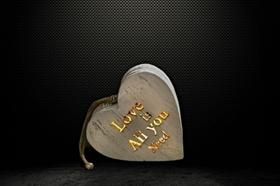 Serce drewniane LED podświetlane TEKST zawieszka