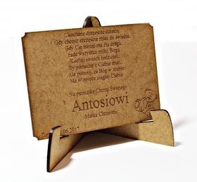 KARTKA DREWNIANA CHRZEST pamiatka GRAWER prezent z okazji chrztu na stojaku