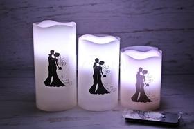 Ślubne ŚWIECE LED ledowa Para Młoda wesele 3szt