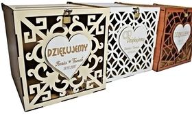 Pudełko KOPERTY skrzynka PODZIĘKOWANIA drewniane