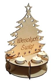 CHOINKA świecznik LAMPION ozdoba DREWNIANY Święta