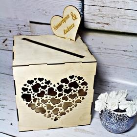 Pudełko na koperty z sercem ślub wesele grawer