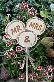 Tabliczki MR & MRS lizaki wesele sala ślub