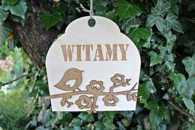 zawieszka WITAMY drewniana dekoracja ptak tabliczk