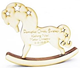 Koń na biegunach CHRZEST roczek prezent GRAWER pamiątka