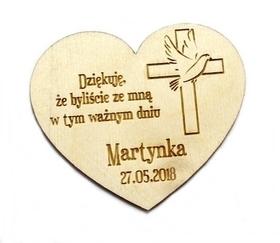 Podziękowania dla gości drewniany MAGNES komunia chrzest