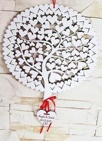 Księga Gości Drzewo Grawer Ślub NA ŚCIANĘ pamiątka biała pamiątka weselna