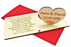 Kartka DREWNIANA prezent ślubny życzenia karta wesele ślub CYRKONIA