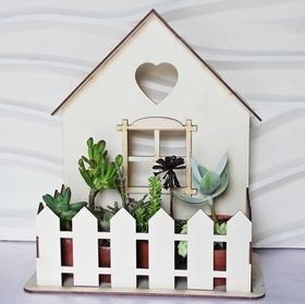 Domek kwietnik organizer osłonka na kwiaty drewniany dekoracja okna