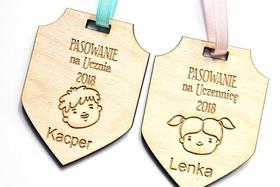Medal HERB pasowanie na ucznia ŚLUBOWANIE przedszkolak szkoła WZORY wstążka