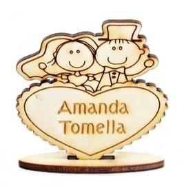 Winietki stół SERCE para młoda drewniane ślub wesele