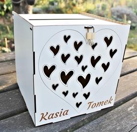 Pudełko KOPERTY skrzynka PODZIĘKOWANIA BIAŁE ślub wesele życzenia