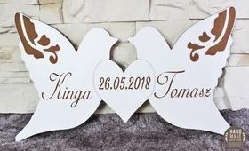 Napis imiona gołębie STÓŁ data PARY MŁODEJ wesele