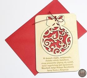 Świąteczne Życzenia Kartka Drewniana Karta Święta Pocztówka Bombka