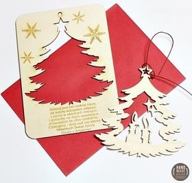 Karta drewniana z życzeniami Święta Boże Narodzenie prezent bombki choinka