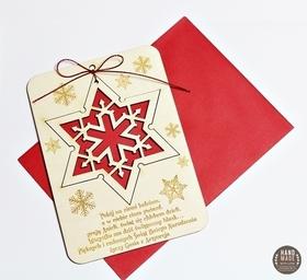ŻYCZENIA gwiazdka GWIAZDA świąteczna pocztówka kartka karta drewniana