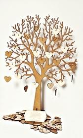 Drewniana Księga Gości Drzewo Ślub 50 serc +GRATIS wesele pamiątka wpisów