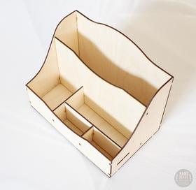 Drewniany PRZYBORNIK organizer decoupage 6 przegródek