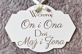 TABLICA ściankę MĄŻ ŻONA ślub wesele napis DUŻA