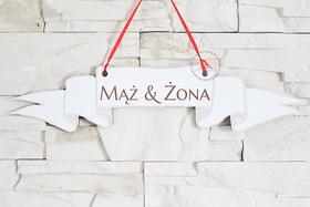 Tablica na ściankę weselną MĄŻ I ŻONA ślub BIAŁA dekoracja