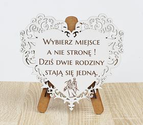 SERCE ażur tablica stojak ślub laser grawer weselna dekoracja gości wybierz miejsce a nie stronę sentencje
