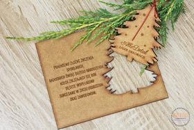 ŻYCZENIA świąteczne 3D kartka drewniana choinka