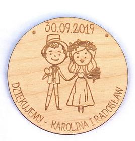 Magnesy podziękowania gościom MAGNES ślub wesele drewniany prezent na lodowkę
