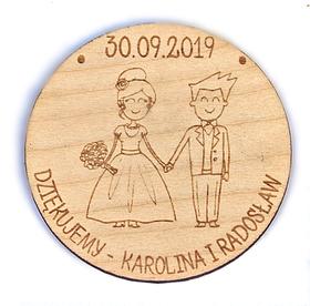 Magnesy podziękowania gościom MAGNES ślub wesele drewniany prezent