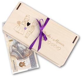 PUDEŁKO na PIENIĄDZE z życzeniami dla Pary Młodej ślub drewniane GRAWER LASER