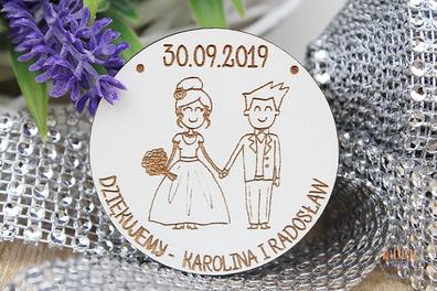 BIAŁY magnes podziękowania gościom MAGNESY ślub wesele drewniany prezent