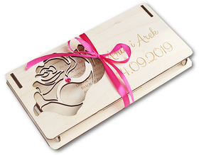 PUDEŁKO na PIENIĄDZE z życzeniami dla Pary Młodej ślub drewniane URODZINY 40 50 60 GRAWER LASER róża cyrkonia