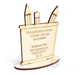DZIEŃ NAUCZYCIELA ołówki STATUETKA Z TWOIMI ŻYCZENIAMI grawer imię drewniana laser PREZENT
