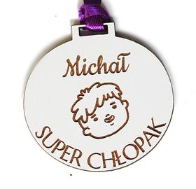 Medal DZIEŃ CHŁOPAKA prezent klasowy dla chłopców ŚWIĘTO drewniany imię grawer laser