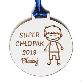 DZIEŃ CHŁOPAKA prezent dla kolegów z klasy IMIĘ grawer biały medal
