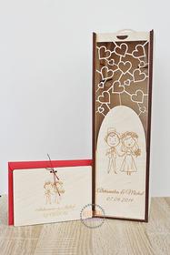 Pudełko na alkohol + życzenia dla PARY MŁODEJ drewniany prezent pamiątka ślubna