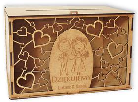 Pudełko na koperty weselne życzenia pamiątka skrzynka ślub wesele drewniane młoda para