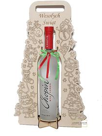 Choinka pudełko na alkohol z życzeniami Wesołych Świąt