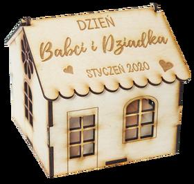 Dzień BABCI i DZIADKA prezent drewniane pudełko na słodycze kosz prezentowyg grawer z życzeniami