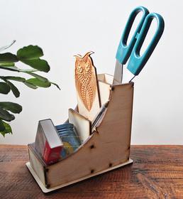 ORGANIZER przybornik do długopisów na biurko drewniany