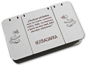 HERBACIARKA białe pudełko na herbaty ekspresowe z Twoim grawerem