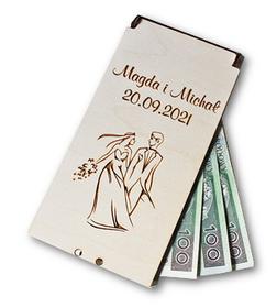 ETUI na PIENIĄDZE drewniane pudełko na ślub weselny prezent z życzeniami