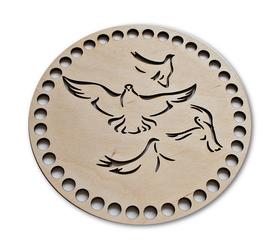 Baza ażurowa dekoracja do wyplatania koszyków, pudełek, torebek wieczko PTAKI z gołębiami