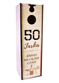 Urodzinowe pudełko na alkohol z grawerem 18 30 40 50 60 70 80 skrzynka opakowanie