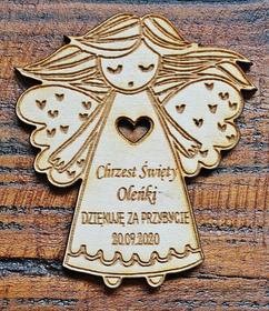 Magnes aniołek podziękowanie dla gości chrzest komunia roczek urodziny drewniany grawer magnesy