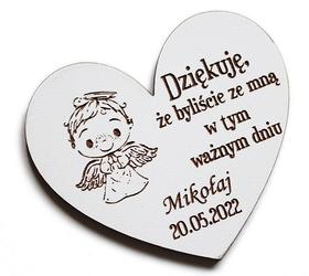 Pierwsza Komunia Święta MAGNESY dla gości magnes PODZIĘKOWANIE drewniany prezent BIAŁY chłopiec aniołek