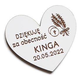 Pierwsza Komunia Święta MAGNESY dla gości magnes PODZIĘKOWANIE drewniany prezent BIAŁY kłos
