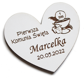 Pierwsza Komunia Święta MAGNESY dla gości magnes PODZIĘKOWANIE drewniany prezent BIAŁY kielich bluszcz