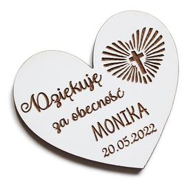 Pierwsza Komunia Święta MAGNESY dla gości magnes PODZIĘKOWANIE drewniany prezent BIAŁY serce