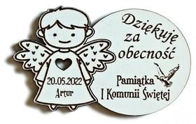 Pierwsza Komunia Święta MAGNESY z aniołkiem podziękowania dla gości prezenty drewniany ANIOŁEK